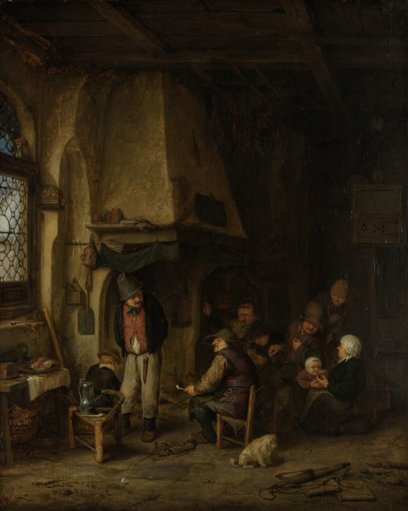 The Skaters: Peasants in an Interior. 1650 | Adriaen van Ostade | oil painting