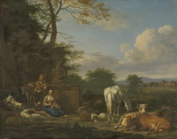 Arcadian landscape with resting shepherds and cattle. 1664 | Adriaen van de Velde | oil painting