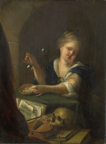 Blowing bubbles girl at a vanitas still life. 1680 - 1775 | Adriaen van der Werff | oil painting