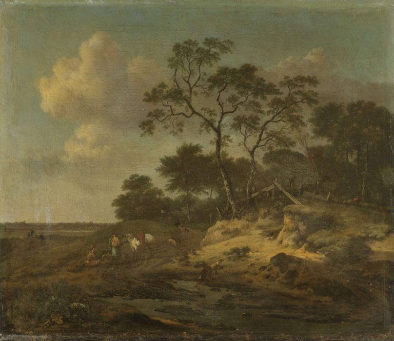 Dune landscape with hunters resting. 1655 - 1684 | Jan Wijnants | oil painting
