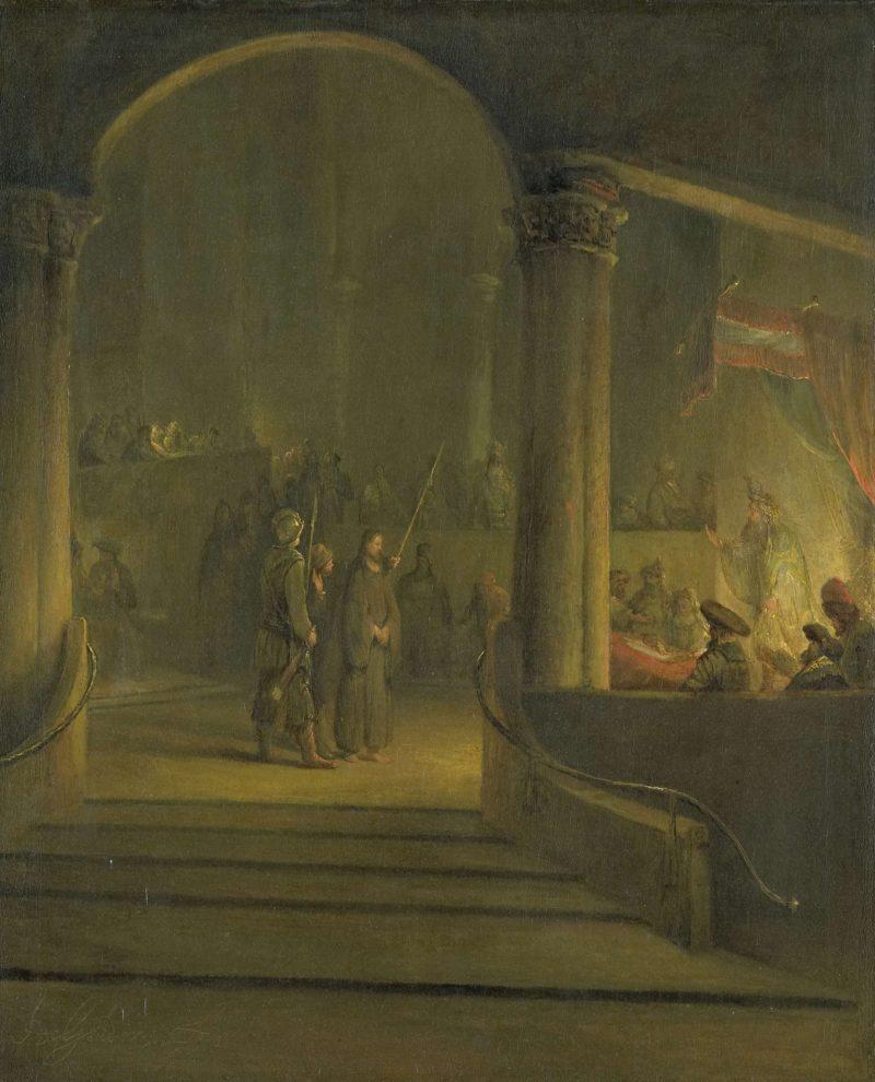 Christ before Caiaphas. 1700 - 1727   Aert de Gelder   oil painting