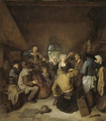 Musician and dancing peasants.. 1650 - 1664 | Cornelis Pietersz. Bega | oil painting
