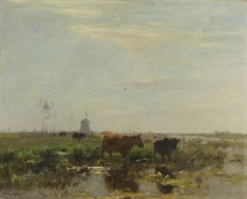 Meadow with cows on the water. 1880 - 1904 | Willem Maris | oil painting