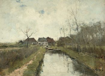 House to a ditch. 1870 - 1888 | Anton Mauve | oil painting