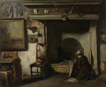 The Studio of the Painter Haarlem Pieter Frederik van Os. ca. 1856 - ca. 1857 | Anton Mauve | oil painting