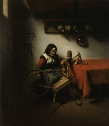The spinster. 1650 - 1660   Nicolaes Maes   oil painting