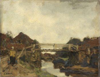 Wooden Bridge across a Canal at Rijswijk. ca. 1878 | Jacob Maris | oil painting