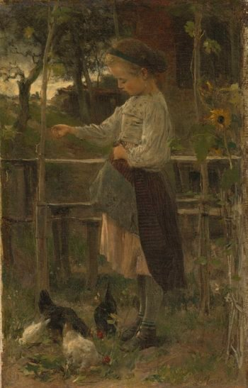 Chickens perform. 1866 | Jacob Maris | oil painting