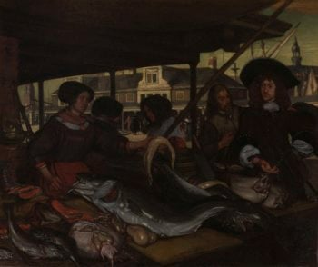 The New Fish Market in Amsterdam. 1655 - 1692 | Emanuel de Witte | oil painting