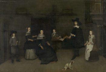 Family Scene. 1649 - 1684 | Caspar Netscher | oil painting