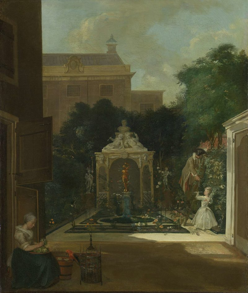 An Amsterdam Canal House Garden. ca. 1740 - 1745 | Cornelis Troost | oil painting