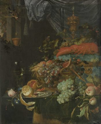 Still life with fruit and a goldfinch. 1660 - 1679 | Abraham Mignon | oil painting