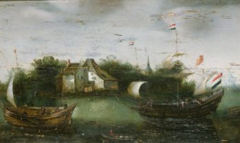 A vessel sailing on an inland waterway. ca. 1614 - ca. 1630 | Anonymous | oil painting