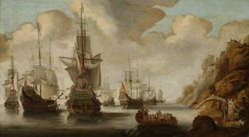 A French squadron at a rocky shore.. 1640 - 1676 | Jacob Adriaensz. Bellevois | oil painting