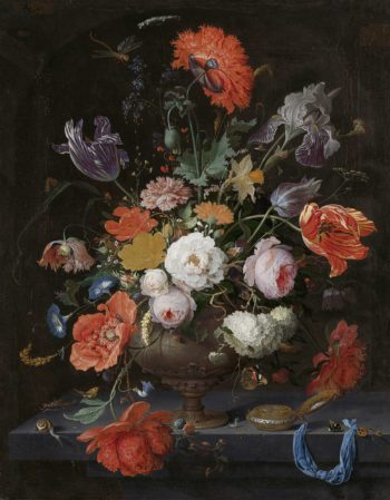Still life with flowers and a watch. ca. 1660 - ca. 1679 | Abraham Mignon | oil painting