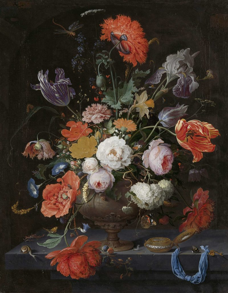 Still life with flowers and a watch. ca. 1660 - ca. 1679   Abraham Mignon   oil painting