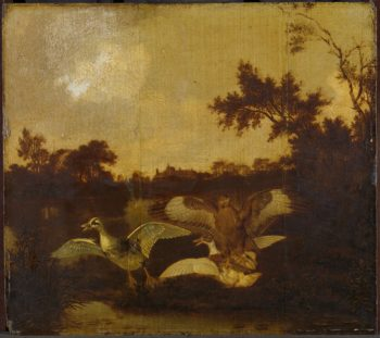 A buzzard is two ducks in. ca. 1635 - ca. 1678 | Dirck Wijntrack | oil painting