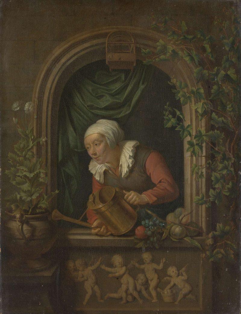 Woman a plant begietend. 1720 - 1771 | Louis de Moni | oil painting