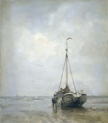 Bluff-bowed Fishing Boat on the Beach at Scheveningen. ca. 1885 | Jacob Maris | oil painting