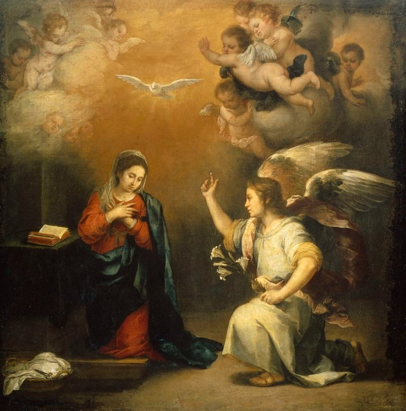 The Annunciation. 1660 - 1680   Bartolom? Esteban Murillo   oil painting