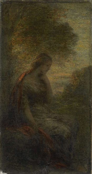 Young woman under a tree at sunset
