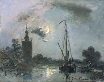 Overschie moonlight. 1871 | Johan Barthold Jongkind | oil painting