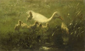 White duck with chickens. 1880 - 1910 | Willem Maris | oil painting