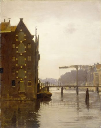 Warehouses on an Amsterdam canal Uilenburg. 1885 - 1922 | Willem Witsen | oil painting
