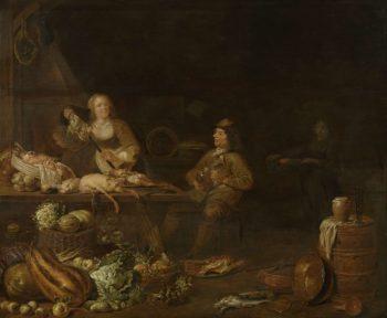 Kitchen Interior. 1645   Jan Olis   oil painting