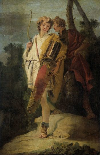 Young man with a bow and a large quiver and his comrade with a shield. 1730 - 1750 | Giovanni Battista Tiepolo | oil painting