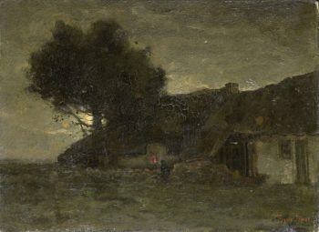 A fold in evening light. ca. 1870 - ca. 1904 | Th?ophile de Bock | oil painting