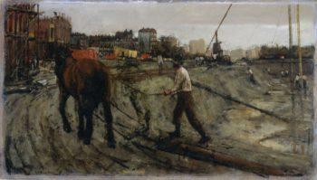 Building site in Amsterdam. ca. 1880 - ca. 1923 | George Hendrik Breitner | oil painting