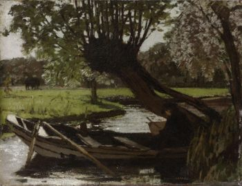 Boat with a Pollard Willow. 1863 | Matthijs Maris | oil painting