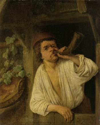A baker blowing his horn. 1630 - 1685 | Adriaen van Ostade | oil painting