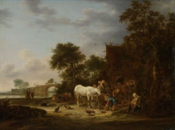 Country inn with horse to the trough. 1643 | Isaac van Ostade | oil painting