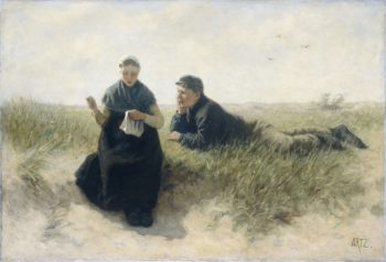 Boy and girl in the dunes.. 1870 - 1890 | David Adolph Constant Artz | oil painting