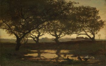 Woodland Pond at Sunset. ca. 1862 | Gerard Bilders | oil painting