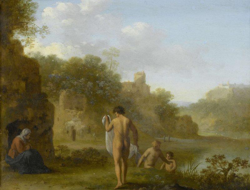 Bathing men. after c. 1646   Cornelis van Poelenburch   oil painting