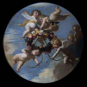 Putti with floral wreath. ca. 1650 | Gerard van Honthorst | oil painting