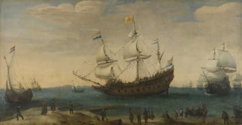 A number of East Indiamen off. ca. 1600 - ca. 1630 | Hendrik Cornelisz. Vroom | oil painting