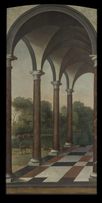 Gallery overlooking a park. 1660 - 1673 | Barent Fabritius | oil painting