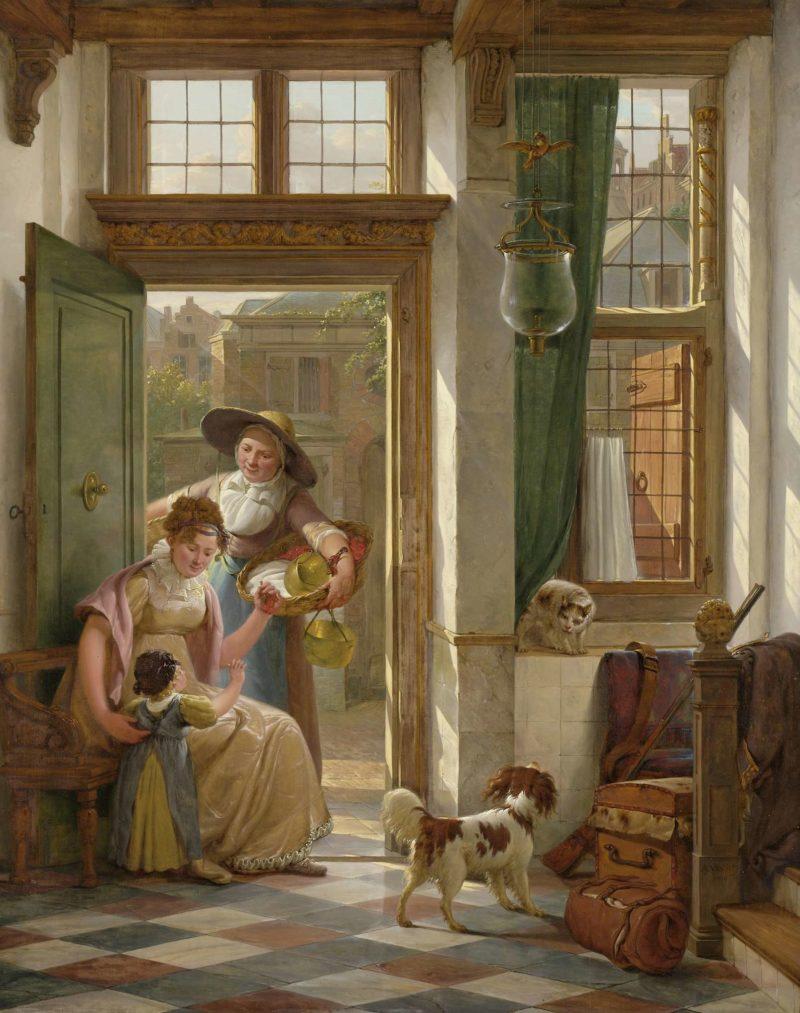 A cherry saleswoman at the door. 1816 | Abraham van Strij (I) | oil painting