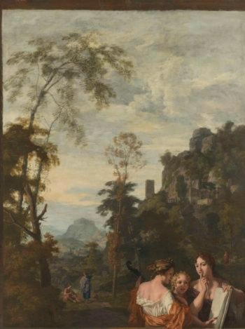 Italian landscape with three music-women. ca. 1687 | Gerard de Lairesse | oil painting