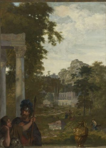 Italian landscape with two Roman soldiers. ca. 1687 | Gerard de Lairesse | oil painting