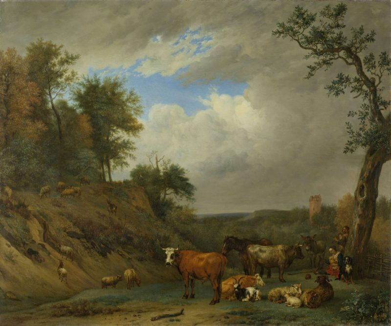 Shepherds with their cattle. 1651   Paulus Potter   oil painting