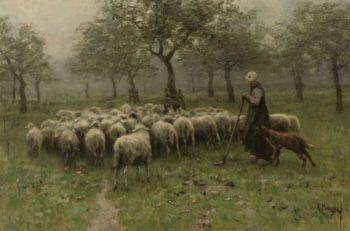 Shepherdess with flock of sheep. ca. 1870 - ca. 1888 | Anton Mauve | oil painting