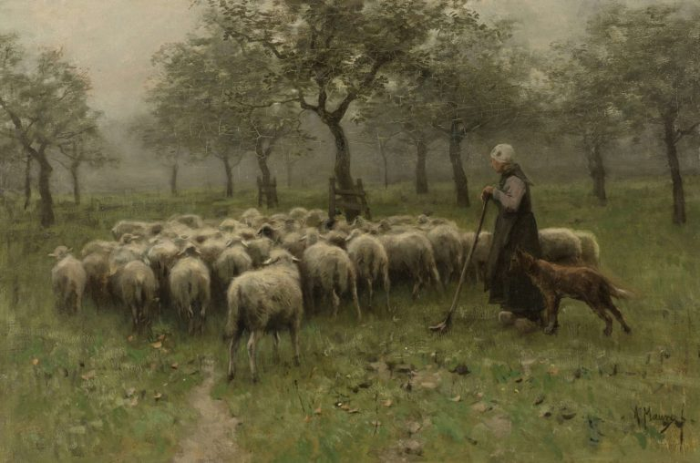 Shepherdess with flock of sheep. ca. 1870 - ca. 1888 | Anton Mauve | oil painting
