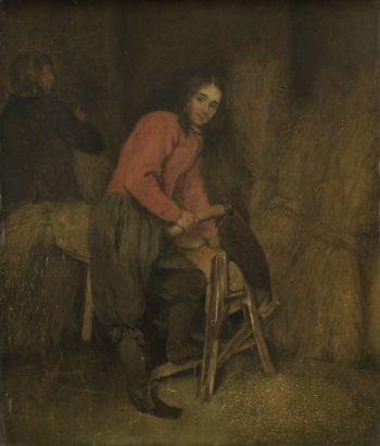 The straw cutter. 1660 - 1684 | Caspar Netscher | oil painting