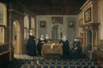 Interior with five ladies. ca. 1630 - ca. 1652 | Dirck van Delen | oil painting