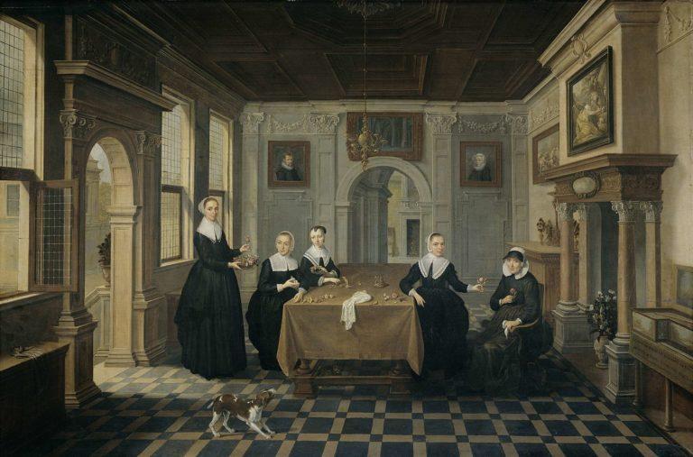 Interior with five ladies. ca. 1630 - ca. 1652 | Dirck van Delen | oil painting